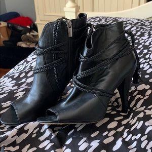 Vince Camuto Leather Peep Toe Booties Heel